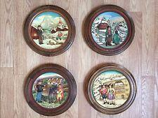 Set Of 4 Wood Anri Christmas Plates 1973 1974 1975 1976
