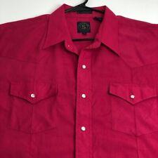 Running Mens Short Sleeve Button Up Western Shirt 18 XXL Pink Cowboy Ranch Snap