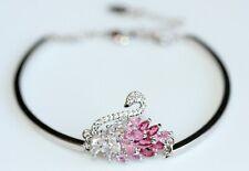 Swarovski Marquise Crystal (Pink) Swan Design 14K White Gold Filled Bracelet