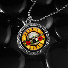 Guns N' Roses GNR 80's Hair Heavy Metal Music Antique Silver Glass Necklace