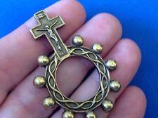 CRUCIFIX Finger Rosary 1 Decade BRASS Metal Healing Pocket Rosary Jesus ITALY