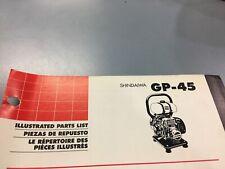 shindaiwa Gp-45 illustrated parts list,Ipl