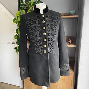Zara Woman Size S Black Velvet Trim Military Blazer Coat Jacket Queen Letizia