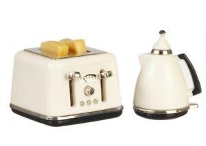 Dolls House Modern White Jug Kettle & Toaster Miniature 1:12 Kitchen Accessory