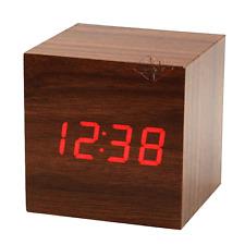OROLOGIO SVEGLIA IN LEGNO CUBO A LED TEMPERATURA DISPLAY ALLARME ALARM CLOCK
