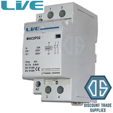 32 Amp 2 Pole Contactor AC 6.6kW Normally Open DIN Rail Mount Heating Lighting