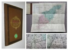 1836 Map of Northamptonshire Corby Kettering folding coloured Map cloth covers