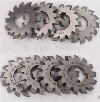 8pcs HSS Involute Gear Cutters Diameter 55mm Dp16 PA14-1/2 Bore22 No1-8 Set