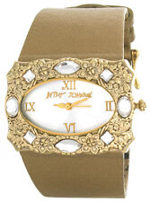 Betsy Johnson Womens Silver Dial Dark Gold Tone Leather Strap Watch BJ2012