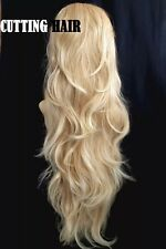 Highlight Blonde Mix 3/4 Wig Long Wavy Layered Curly Half Wig 057-27/613