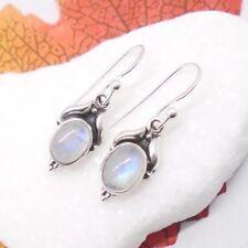 Mondstein weiß oval Design Ohrringe Ohrhänger Haken 925 Sterling Silber neu
