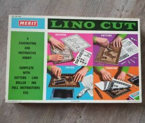 Merit Lino Cut Vintage Craft Toy By J and L Randall Ltd 1961 England Tools Boxed