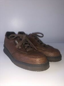 Mephisto Runoff Sneaker Brown Pebbled Leather Casual Shoes Sz 8.5