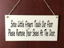 """HandMade DELUXE Hanging Plaque """" Please Remove Your Shoes """" Gift Sign"""