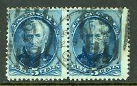 USA 1879 Continental 5¢ Taylor Blue Pair Scott 185 VFU I560 ⭐⭐⭐⭐⭐⭐