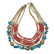 4cfb1cef5bc8 Ethnic Bone Gold Metal Beads Multi Color Strand Tribal Fashion Jewelry  Necklace