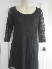 Ladies size 10 Store Twenty One black stretch lace lined ¾ sleeve dress