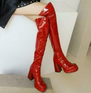 Women's Over The Knee Boots Square Toe Chunky Heel High Riding Shoes Cowboy Punk