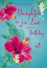 Daughter In Law On Your Birthday Flowers & Butterfly Design Happy Birthday Card
