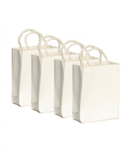 Dolls House 4 White Paper Shopping Bags Miniature Grocery Shop Store Accessory