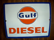 Vintage Original 1960's Gulf Diesel Pump Plate Single Sided Porcelain Sign