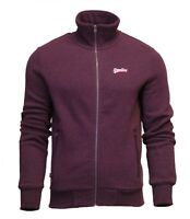 Superdry Mens Orange Label Full Zip Track Top Sweatshirt Long Sleeve Burgundy