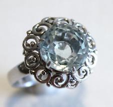 Vintage Aquamarine White Gold Ring Size 6