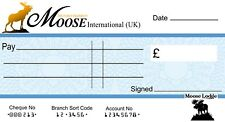 LOYAL ORDER of MOOSE -  BLANK LARGE CHEQUE  (3 SIZES)  for Charity- Presentation