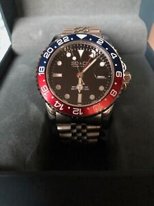 SO&CO Swiss Quartz Stainless GMT Watch Red/Blue Pepsi Bezel