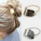2pc Fashion Metal Leaf Hair Band Rope Hair Cuff Headband Ponytail Holder Elastic