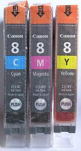 Canon Genuine CLI-8C CLI-8M CLI-8Y Set. New & Sealed