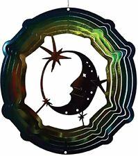 "Moon Stars Wind Spinner New Zephyr Spiral 12"" Steel Blue Green Yellow"