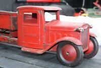 1930's Keystone Dump Truck - Pressed Steel - repainted - 23 inches - lights