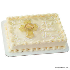 First Communion Cross Cake Decoration Party TOPPER Religious Gold Plac Supplies