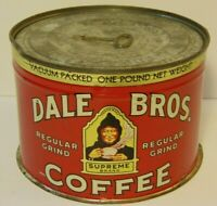 Vintage 1950s DALE BROS. GRAPHIC COFFEE TIN ONE POUND Fresno California with Key