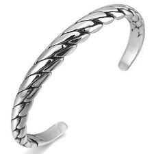 MENDINO Men's Women's Stainless Steel Bracelet Dragon Cuff Curb Bangle Silver