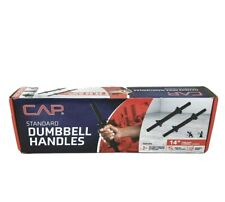 "Standard Dumbbell Handles 14"" w/Spinlock Collars, rubber grip,Pair FREE SHIPPING"