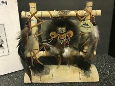 Native American Indian w/ Wolf Headdress Birch Feathers Leather Bead Wilcor Gift