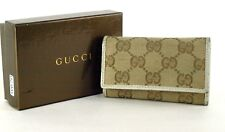 100% Auth GUCCI GG logo Canvas Fabric Beige 6 Key Case (1 missing) Italy