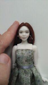 Porcelain miniature bjd doll Woman Girl bisque 1/12 scale green dress