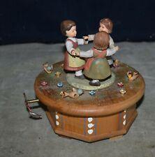 """Genuine Anri 3 Girls Music Box Plays """"Born Free"""" Hand Carved Wood Thorens Swiss"""