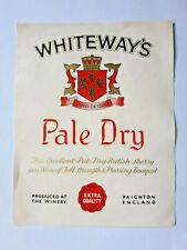 Whiteways - Devon - Pale Dry British Sherry - Bottle Label 1960's