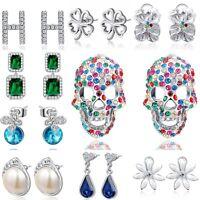 Women 925 Solid Silver Earring Crystal Drop Dangle Hook Stud Sterling Jewelry