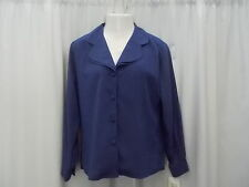 """JOSEPHINE BLOUSE 14 BUST 48"""" BUTTON DOWN  COVERED BUTTONS DOUBLE LAPEL NEW BELK"""