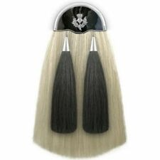 Handmade White Original Long 100% Horse Hair Sporran with Two Black Tassels