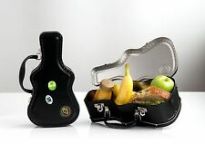 Guitar Case metal sandwich lunch Box & Stickers (retro school kids rock music)