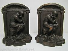 Antique 1920-30s Cast Iron 'The Thinker' Bookends ornate high relief book ends