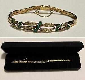 Vintage 14K Yellow Gold Genuine Emerald & Diamond Double Cobra Link Bracelet
