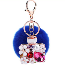 Keychain Jewellery Bag Retro Car Perfume Pompon Blue Rhinestone New