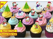 60 Xmas Christmas Santa Tree Cup Cake Toppers Snowman Wafer Edible Decoations